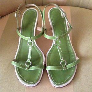 J. Crew Green Leather T-Strap Sandals Heels,